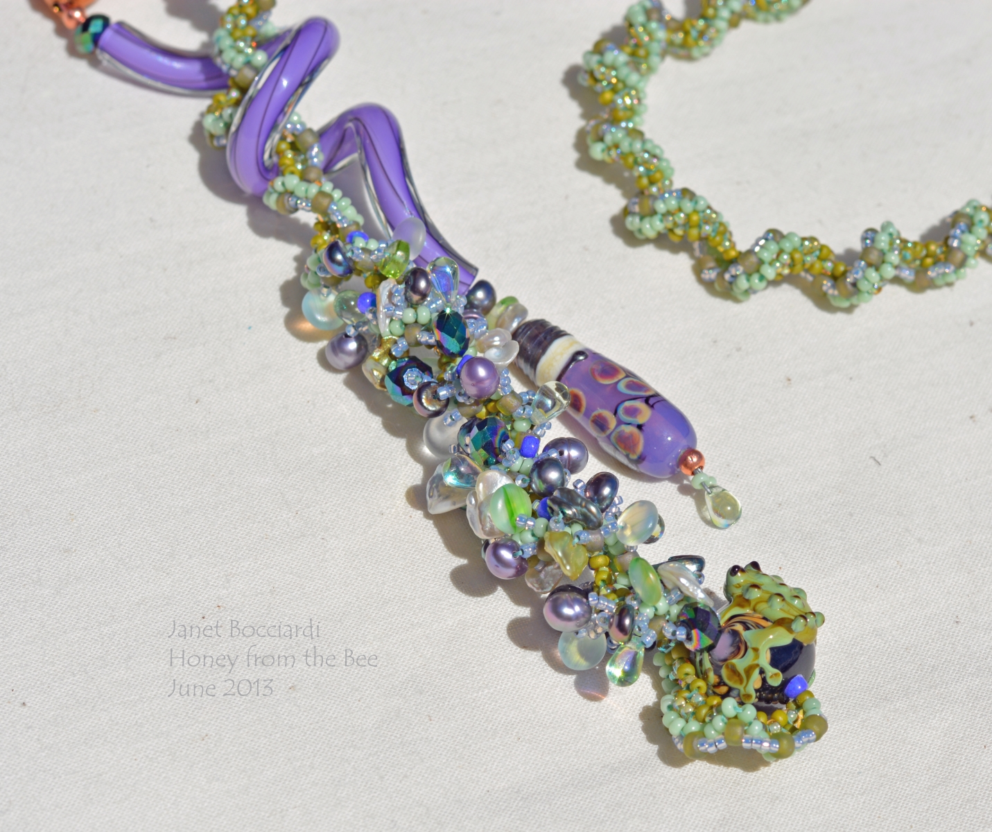 Purple and Green Artisan Necklace