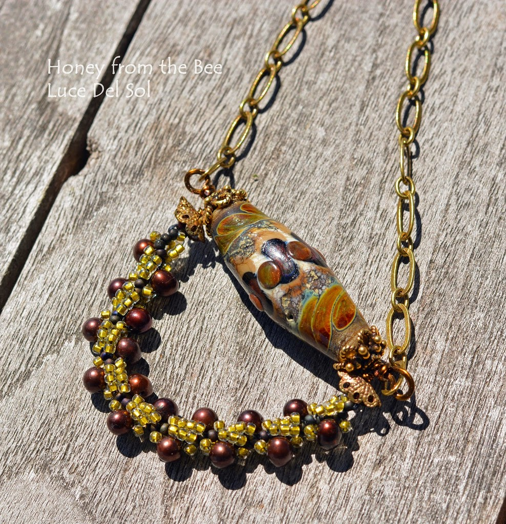 Tuscan inspired beadwork necklace