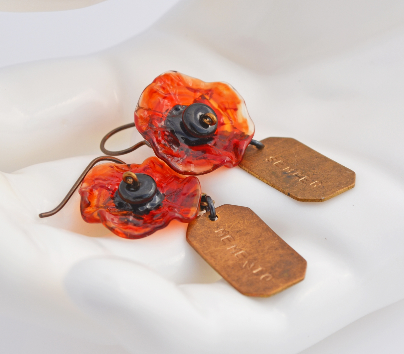 Poppy Earrings in memory of fallen soldiers