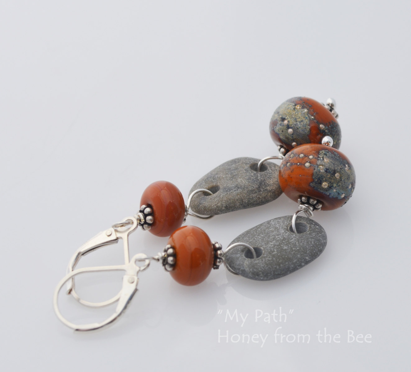 Beach stone and Lampwork earrings