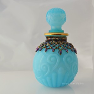 Seed bead netted Avon bottle