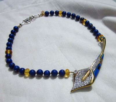 Navy blue and yellow artisan necklace by Honey from the Bee