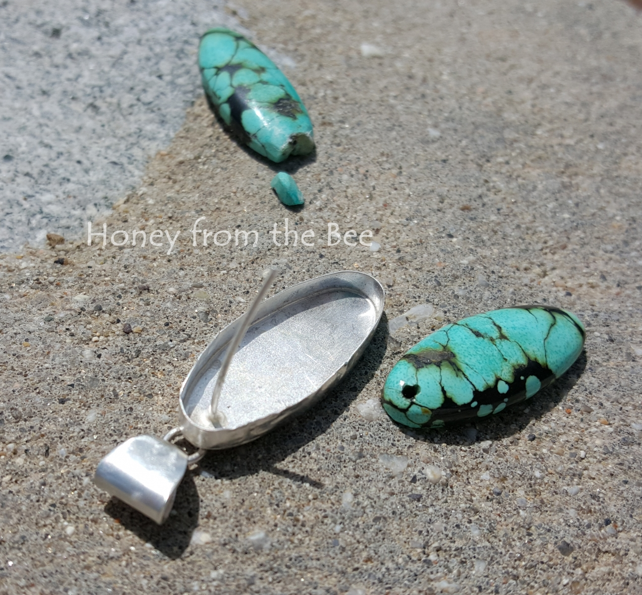 Turquoise and Sterling Silver pendant in process