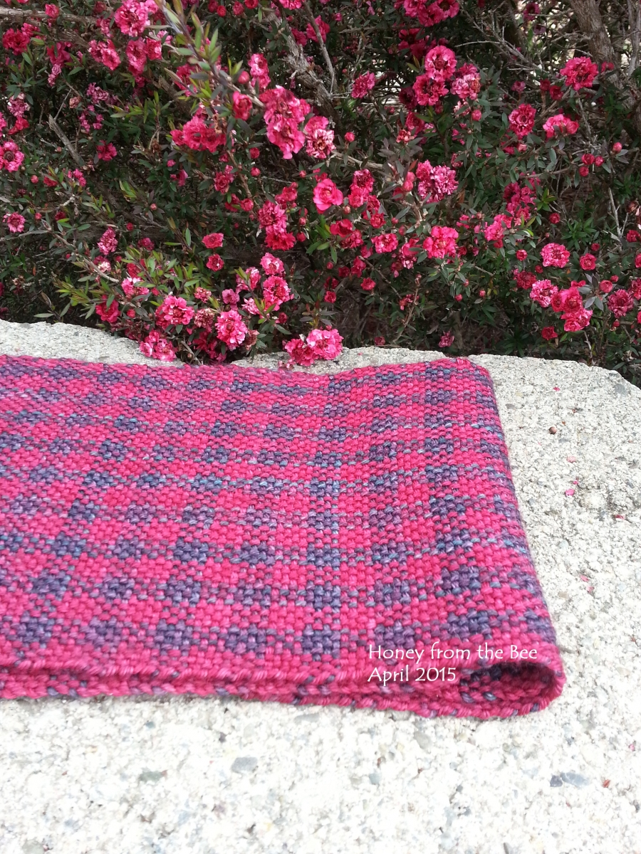 Plaid Berry colored woven merino scarf