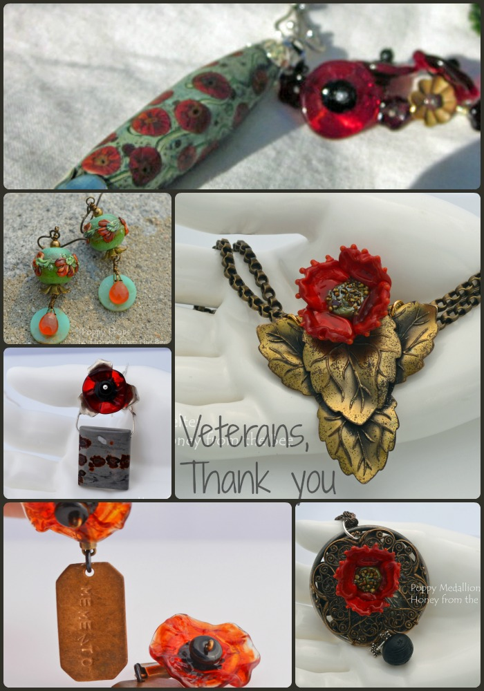 Collage of Poppy jewelry by Honey from the Bee