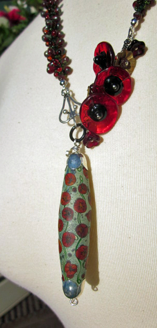 One of a Kind Poppy Necklace by Honey from the Bee