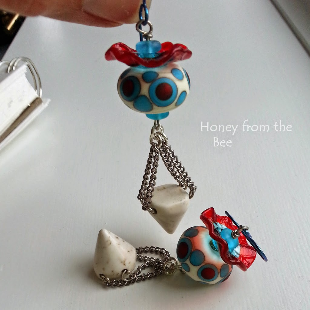 Red and Turquoise Boho style earrings