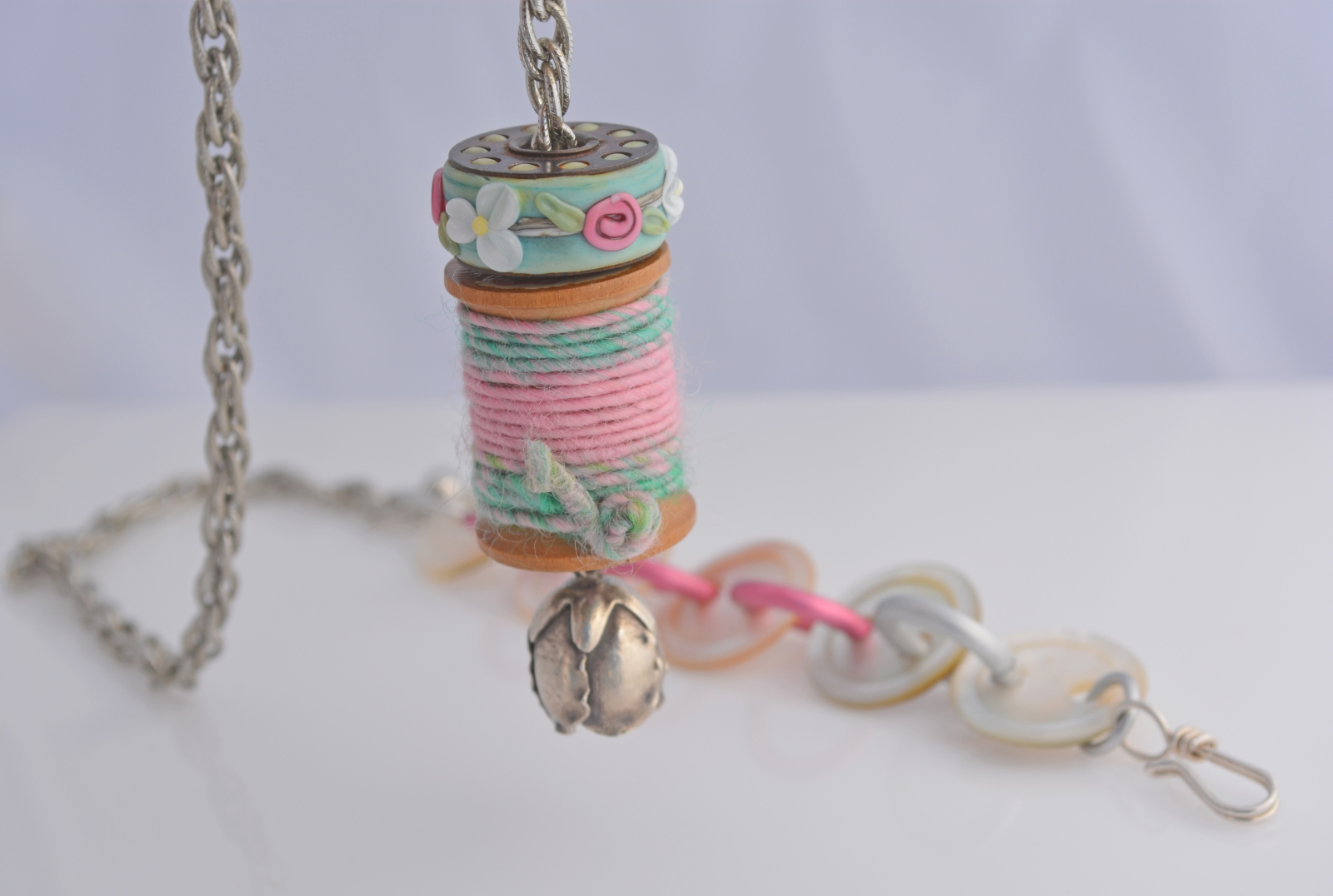 Quilter's Artisan Necklace - Lampwork, wooden spool