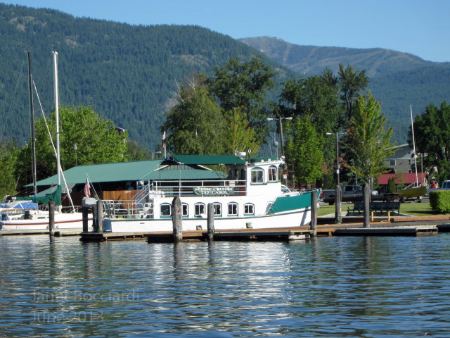 Shawnodese in dock on Lake Pend Oreille with Schweitzer in background