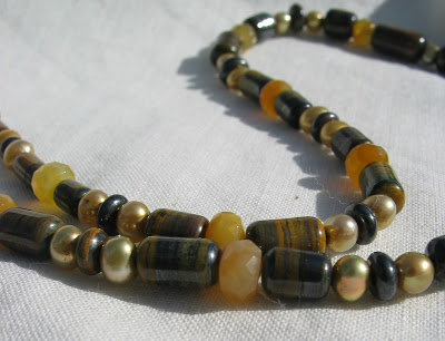 Yellow Jade and Tiger Iron necklace by Honey from the Bee