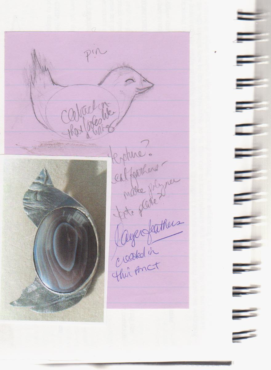Silver bird pendant sketch by Honey from the Bee
