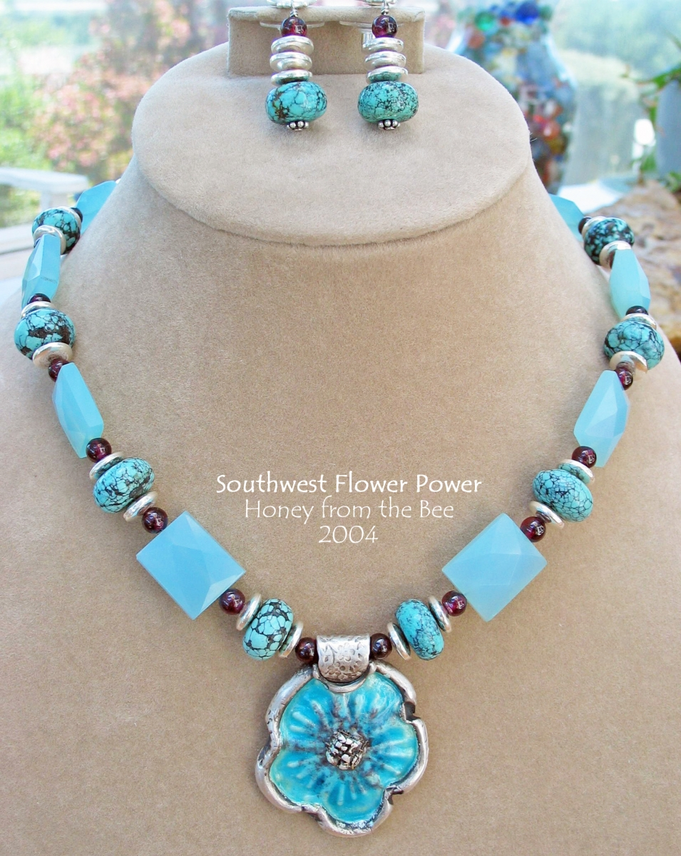 Enameled Fine Silver Flower Necklace with turquoise, garnet and chalcedony beads