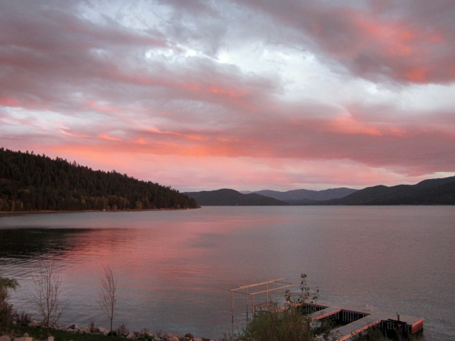 Sunset over Lake Pend Oreille, Monarchs in background
