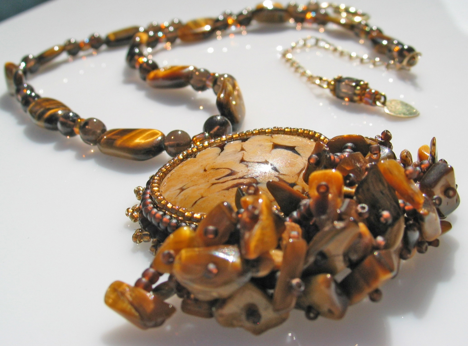 Tiger Eye Statement necklace by Honey from the Bee