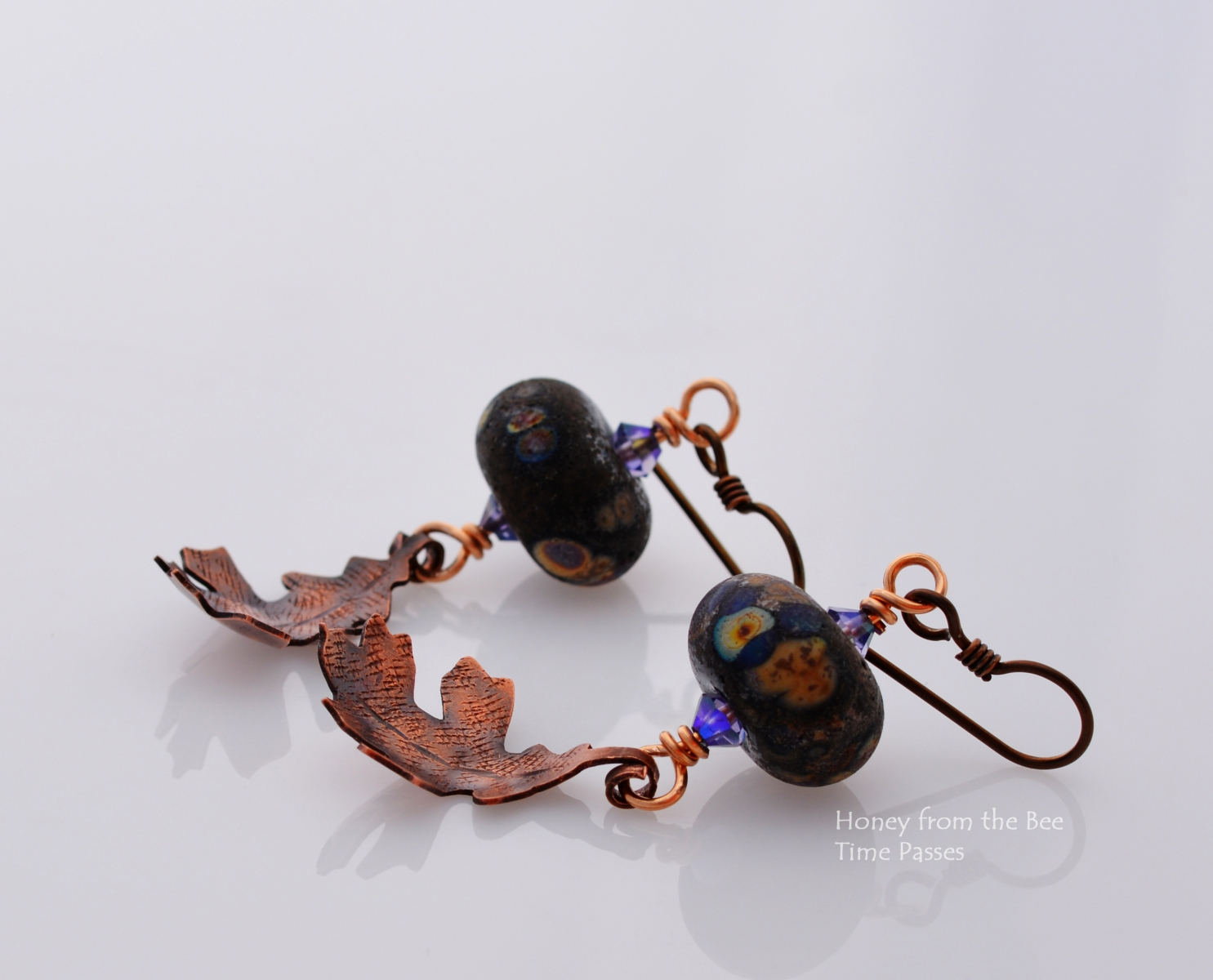 Lampwork and Copper Leaf earrings