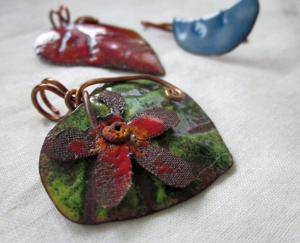Torch enameled pendants and charms
