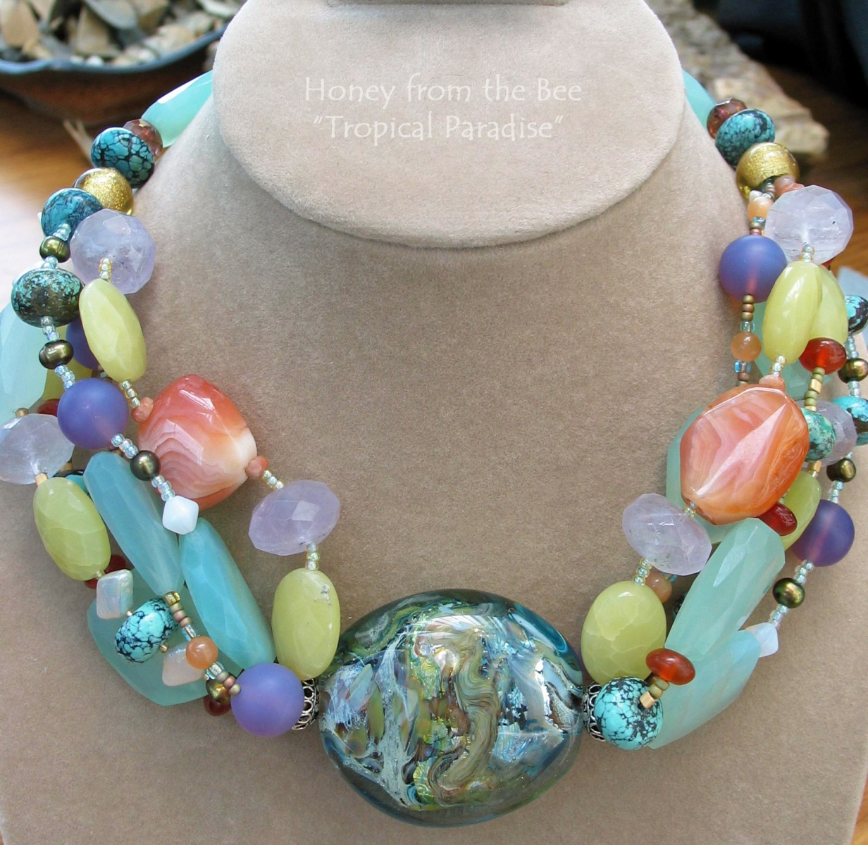 Multiple gemstones in this stunning statement necklace by Honey from the Bee