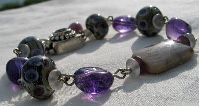 Fossilized coral agate, lampwork and amethyst bracelet by Honey from the Bee