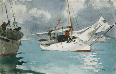 Winslow Homer painting of a sailboat