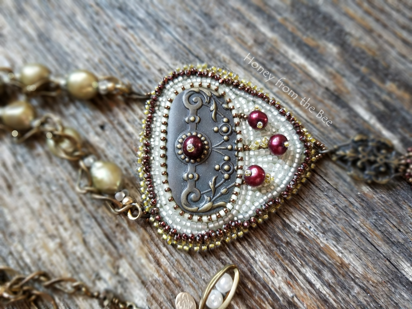 Bead embroidered statement necklace by Honey from the Bee