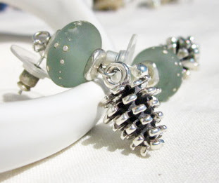 Sterling Silver pinecone earrings by Honey from the Bee