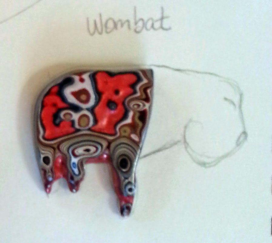 Wombat sketch with Fordite by Honey from the Bee