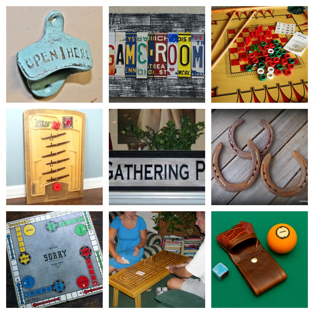 Game Room gift ideas collage