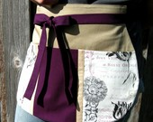 Plum and Parchment Utility Half Apron for Music Lovers, Crafters and Music Teachers -- Craft Apron -- Utility Apron -- Vendor Apron - Foodphyte